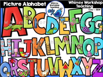 Picture Alphabet (With Phonics Images) Clip Art - Whimsy W