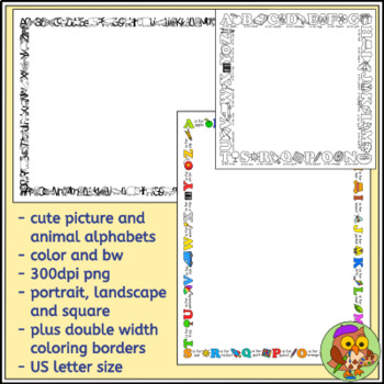 Picture Alphabet and Animal Alphabet Borders / Frames plus Coloring Borders
