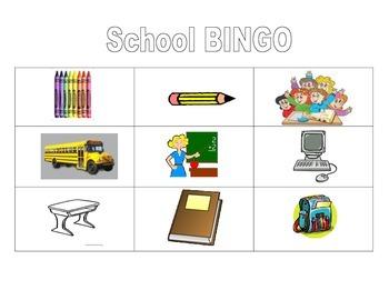 Picture Bingo #1 (school words)