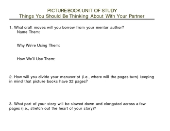 Picture Book Writing: Essential Questions for Partnerships