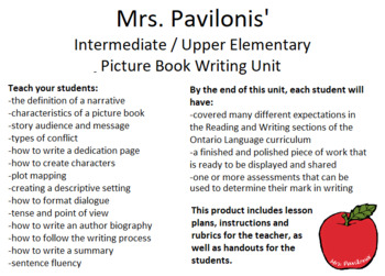 Picture Book Writing Unit for Intermediate / Upper Elementary Grades