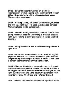 Picture Book of Thomas Alva Edison Vocabulary and timeline