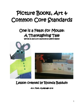 Picture Books, Art & CCS- One is a Feast for Mouse:  A Thanksgiving Tale