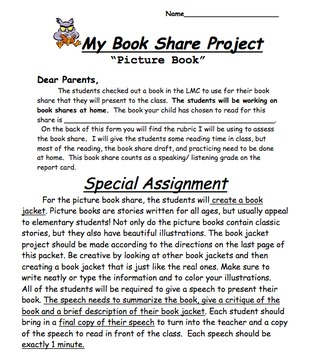 Picture Books  Book Report or Book Speech with Project