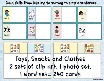 Autism Activities: Category Sorting 1: Clothing, Toys, Snacks