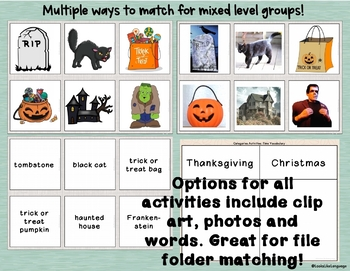 Autism Activities: Category Picture Sorting for Holidays and Time Vocabulary