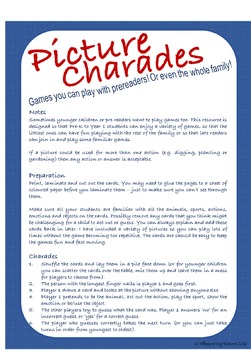 FREE Picture Cards Distance Learning Games for Pre-Readers or Late Readers