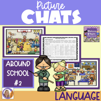 Picture Chat- Around School #2. Vocabulary, 'wh' questions and discussion