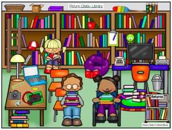 Picture Chat- Around School Bundle! Vocabulary, 'wh' questions and discussion
