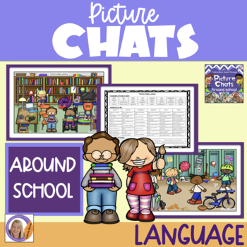 Picture Chat- Around School. Vocabulary, 'wh' questions and discussion