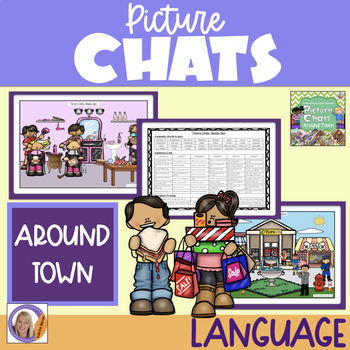 Picture Chat- Around Town. Vocabulary, 'wh' questions and discussion