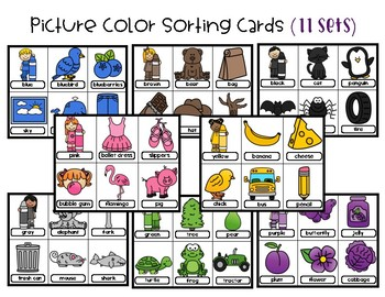 Picture Color Sorting Cards