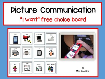 "Picture Communication - Choice Board ""I want"""