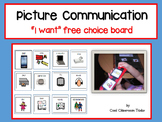 """Picture Communication """"I want"""" free choice - Autism/Special Education"""