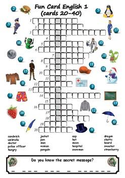 Picture Crosswords With Secret Messages Part 1 (16 crosswords / 320 words)