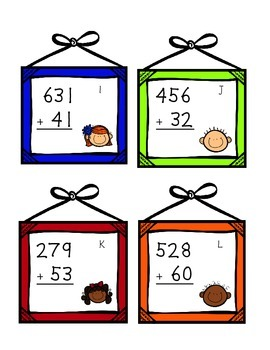 Picture Day Addition Task Cards (3 digit + 2 digit)