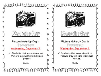 Picture Day Reminder (Editable)
