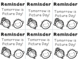Picture Day Reminder Note
