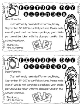 Editable Picture Day Reminders