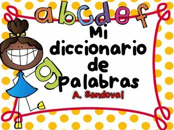 Picture Dictionary Booklet in Spanish Diccionario de palabras