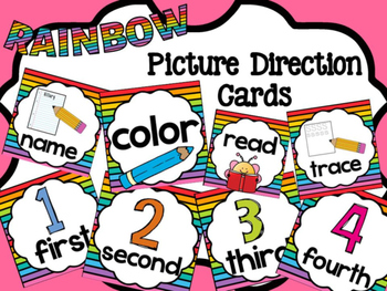 Picture Direction Cards - Bold Rainbow