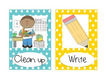 Picture Direction Cards-Chevron and Dot Theme! BILINGUAL