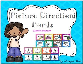 Picture Direction Cards (Quatrefoil background)