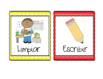 Picture Direction Cards in English and Spanish-PASTEL COLORS