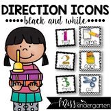 Picture Direction Cards Black and White Background
