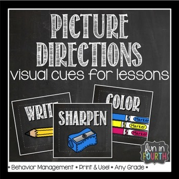 Picture Directions Chalkboard Themed Visual Cues