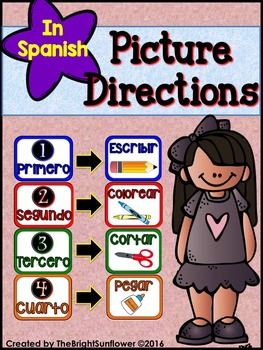 Picture Directions in Spanish (Colorful Theme)