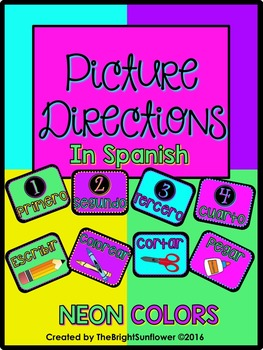 Picture Directions in Spanish (NEON Theme)