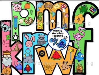 Phonics Pictures Filled Alphabet (lowercase) Clip Art - Whimsy Workshop Teaching