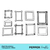 Picture Frames - Doodle Clipart - Transparent PNGs