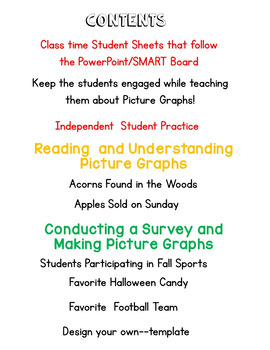 Picture Graphs: Fall Themed PowerPoint/SMARTBoard lesson and Worksheets