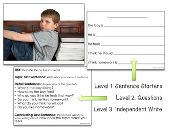 Picture Journal Prompts 3 {Leveled Writing} Great for Special Ed