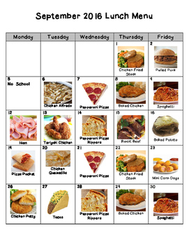 Picture Lunch Menu for Nebo School District