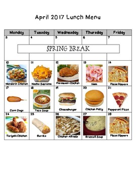 Picture Lunch Menu for Nebo School District (April)