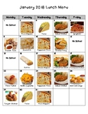 Picture Lunch Menu for Nebo School District/January 2018