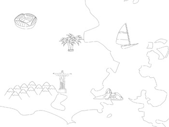 Picture Map of Rio with Olympic site marked