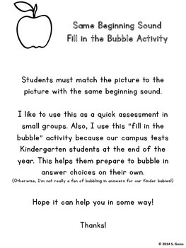 Picture Match - Same Beginning Sound (Fill in the Bubble Activity)
