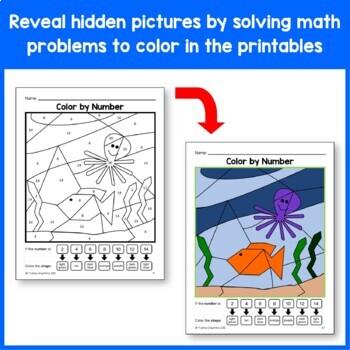 Color by Number Bundle Kindergarten - Color by Number, Adding, & Shapes