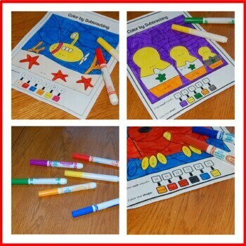 Color by Number Bundle - Second Grade - Color by Addition & Subtraction