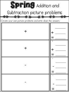 Picture Math Problems {task cards and record sheet} Spring theme + and -