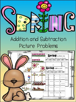 Picture Math Problems {task cards and record sheet} Spring