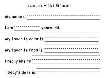 Picture Me In First Grade