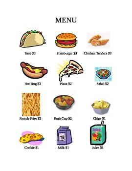 Picture Menu with Dollar Amounts with Questions