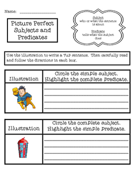 Picture Perfect Subjects and Predicates 7up Sentence Illustrations