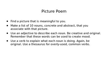 Picture Poem Using Parts of Speech