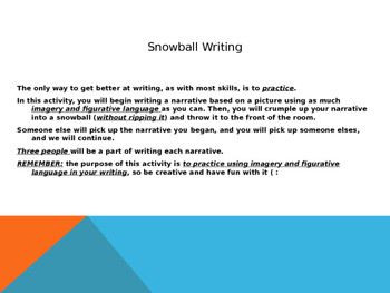Picture Prompt Descriptive Snowball Writing Activity